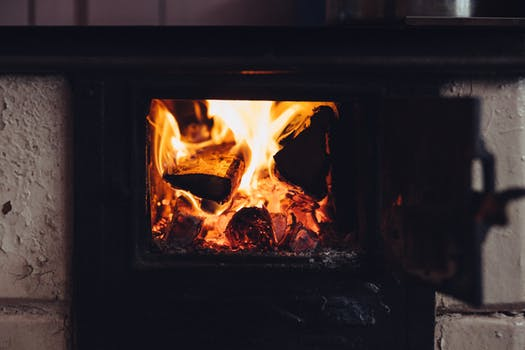 open flame in wood burning stove Glasgow